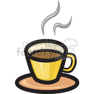 coffee cup on saucer steaming clipart. Commercial use image # 141535
