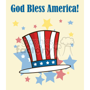 patriotic american top hat cartoon greeting card clipart. Royalty-free image # 398876