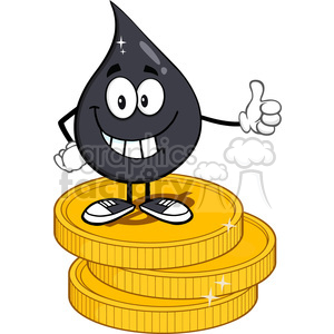 smiling petroleum or oil drop cartoon character giving a thumb up stack of usd dollar gold coins vector illustration isolated on white background clipart. Royalty-free image # 398896