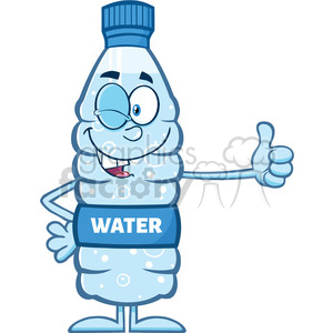 royalty free rf clipart illustration smiling water plastic bottle cartoon mascot character winking and holding a thumb up vector illustration isolated on white clipart. Commercial use image # 398943