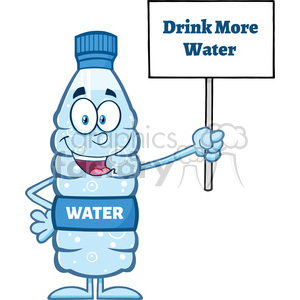 royalty free rf clipart illustration water plastic bottle cartoon mascot character holding up a sign with text vector illustration isolated on white clipart. Royalty-free image # 398953
