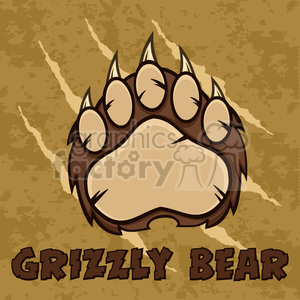 royalty free rf clipart illustration brown bear paw with claws vector illustration with scratches grunge background and text