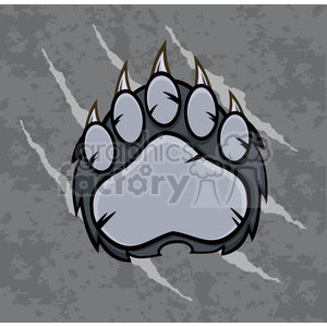 royalty free rf clipart illustration gray bear paw with claws vector illustration with scratches grunge background clipart. Royalty-free image # 398991