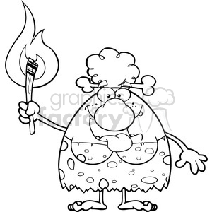black and white smiling cave woman cartoon mascot character holding up a fiery torch vector illustration clipart. Commercial use image # 399021