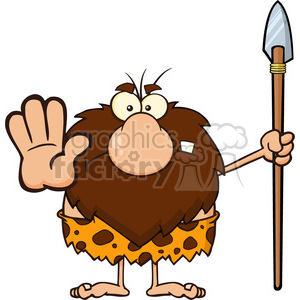 9920 angry male caveman cartoon mascot character gesturing and standing with a spear vector illustration clipart. Commercial use image # 399041