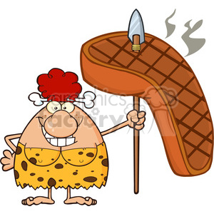 smiling red hair cave woman cartoon mascot character holding a spear with big grilled steak vector illustration clipart. Commercial use image # 399071
