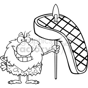 black and white smiling male caveman cartoon mascot character holding a spear with big grilled steak vector illustration clipart. Commercial use image # 399111