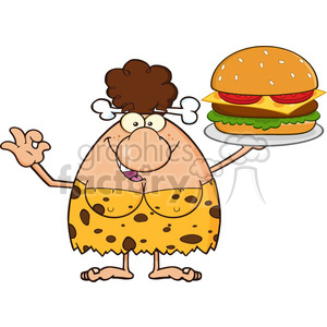brunette cave woman cartoon mascot character holding a big burger and gesturing ok vector illustration clipart. Commercial use image # 399131