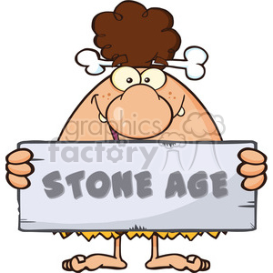 funny brunette cave woman cartoon mascot character holding a stone sign with text stone age vector illustration