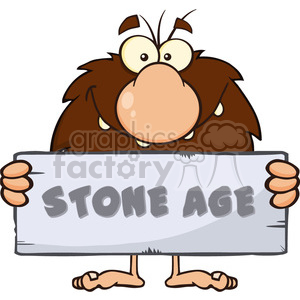 funny male caveman cartoon mascot character holding a stone sign with text stone age vector illustration