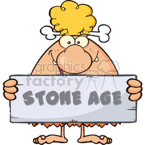 funny cave woman cartoon mascot character holding a stone sign with text stone age vector illustration clipart. Royalty-free image # 399201