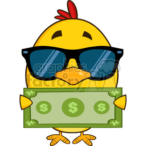 royalty free rf clipart illustration cute yellow chick cartoon character wearing sunglasses and holding a dollar bill vector illustration isolated on white clipart. Commercial use image # 399211