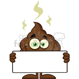 royalty free rf clipart illustration smiling funny poop cartoon character holding a blank sign vector illustration isolated on white backgrond clipart. Commercial use image # 399231