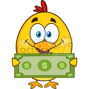 royalty free rf clipart illustration cute yellow chick cartoon character holding cash money vector illustration isolated on white clipart. Royalty-free image # 399251