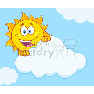 royalty free rf clipart illustration happy summer sun mascot cartoon character hiding behind cloud vector illustration with background clipart. Royalty-free image # 399291