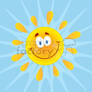 royalty free rf clipart illustration smiling sun cartoon mascot character vector illustration with background clipart. Royalty-free image # 399302
