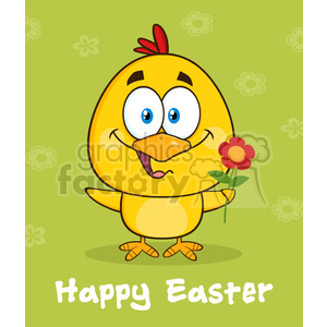 royalty free rf clipart illustration cute yellow chick cartoon character holding a flower over green with happy easter text vector illustration clipart. Commercial use image # 399330