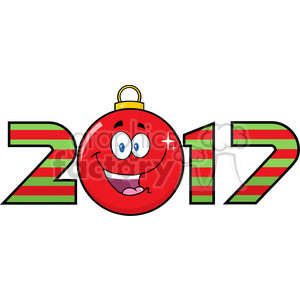 happy 2017 new years eve greeting with christmas ball cartoon character and numbers vector illustration illustration isolated on white clipart. Royalty-free image # 399360