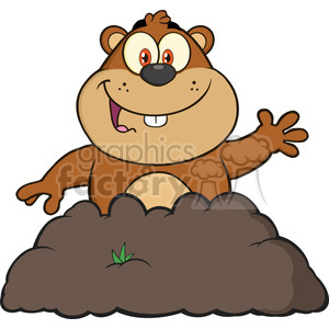 royalty free rf clipart illustration happy marmmot cartoon character waving in groundhog day vector illustration isolated on white clipart. Royalty-free image # 399370