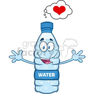 illustration cartoon ilustation of a water plastic bottle mascot character thinking of love and wanting a hug vector illustration isolated on white background