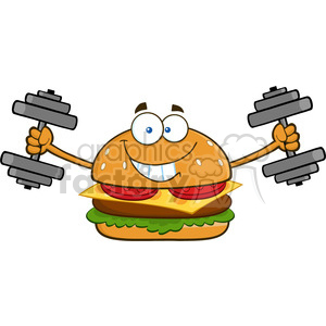 illustration smiling burger cartoon mascot character working out with dumbbells vector illustration isolated on white background clipart. Royalty-free image # 399400