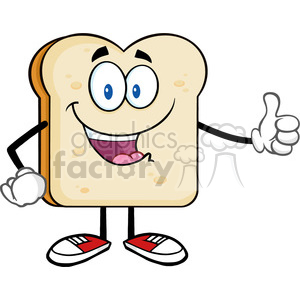 illustration happy bread slice cartoon mascot character giving a thumb up vector illustration isolated on white background clipart. Commercial use image # 399420
