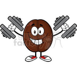 illustration smiling coffee bean cartoon mascot character working out with dumbbells vector illustration isolated on white clipart. Commercial use image # 399430