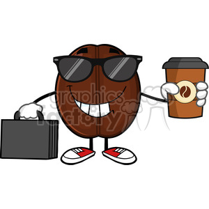 illustration businessman coffee bean cartoon mascot character with sunglases and briefcase holding a coffe cup to go vector illustration isolated on white clipart. Commercial use image # 399439