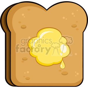 illustration cartoon toast bread slice with butter vector illustration isolated on white background clipart. Commercial use image # 399451
