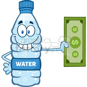 illustration cartoon ilustation of a water plastic bottle cartoon mascot character holding a dollar bill vector illustration isolated on white background clipart. Royalty-free image # 399461