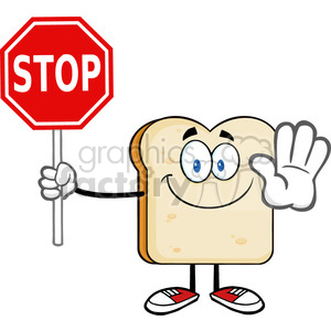 illustration smiling bread slice cartoon mascot character gesturing and holding a stop sign vector illustration isolated on white background clipart. Royalty-free image # 399481