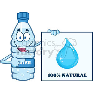 of a water plastic bottle mascot character holding and pointing to a banner with text vector illustration isolated on white background clipart. Commercial use image # 399491