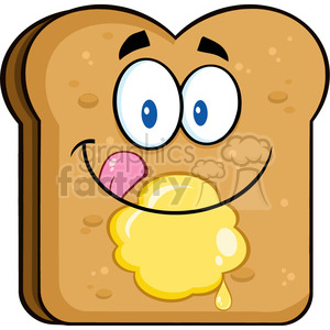illustration happy toast bread slice cartoon character licking his lips with butter vector illustration isolated on white background clipart. Royalty-free image # 399501
