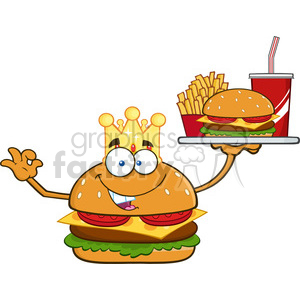 illustration king burger cartoon mascot character holding a platter with burger, french fries and a soda vector illustration isolated on white background clipart. Royalty-free image # 399521