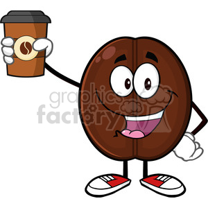 illustration cute coffee bean cartoon mascot character holding up a coffee cup vector illustration isolated on white clipart. Commercial use image # 399541