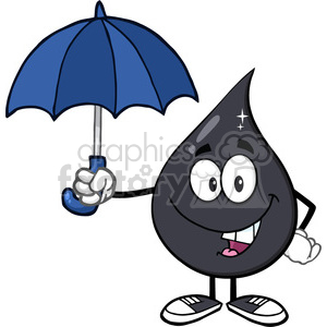 oil character umbrella weather cartoon drip drop spill toxic