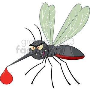 royalty free rf clipart illustration mosquito cartoon character flying with blood drop vector illustration isolated on white clipart. Royalty-free image # 399586