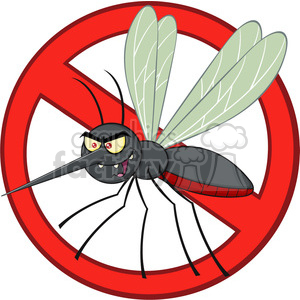 royalty free rf clipart illustration stop mosquito cartoon character with prohibited symbol vector illustration isolated on white clipart. Commercial use icon # 399606