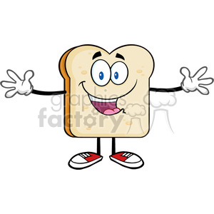 royalty free rf clipart illustration happy bread slice cartoon character with open arms vector illustration isolated on white backgrond clipart. Royalty-free image # 399636