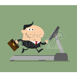 royalty free rf clipart illustration smiling businessman cartoon character with briefcase running on a treadmill modern flat design vector illustration clipart. Royalty-free image # 399646