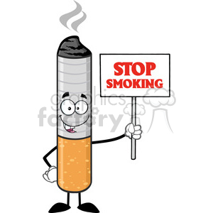 royalty free rf clipart illustration cigarette cartoon mascot character holding a sign with text stop smoking vector illustration isolated on white background clipart. Royalty-free image # 399666