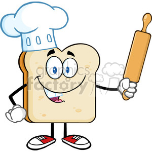 royalty free rf clipart illustration baker bread slice cartoon mascot character with chef hat holding a rolling pin vector illustration isolated on white clipart. Royalty-free image # 399684