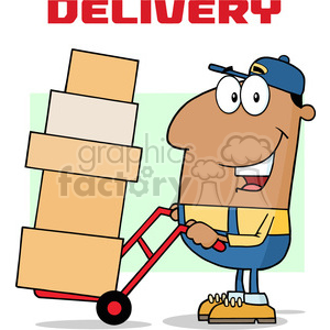 royalty free rf clipart illustration african american delivery man cartoon character using a dolly to move boxes vector illustration with text isolated on white clipart. Royalty-free image # 399704