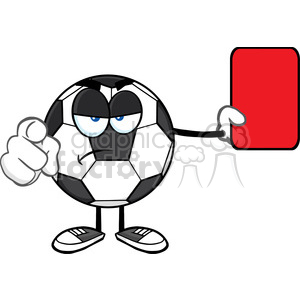 soccer ball cartoon mascot character referees pointing and showing red card vector illustration isolated on white background