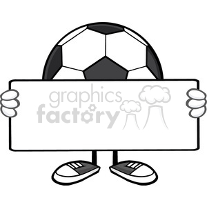 9780 soccer ball faceless cartoon mascot character holding a blank sign vector illustration isolated on white background clipart. Commercial use image # 399744