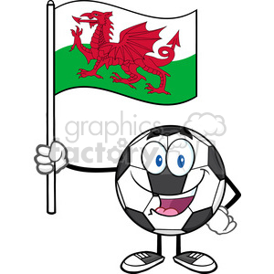happy soccer ball cartoon mascot character holding a flag of wales vector illustration isolated on white background clipart. Royalty-free image # 399754