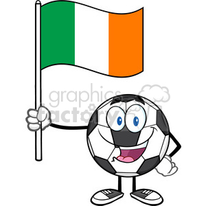 happy soccer ball cartoon mascot character holding a flag of the republic of ireland vector illustration isolated on white background clipart. Royalty-free image # 399774
