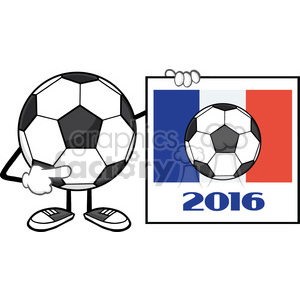 pointing soccer ball cartoon mascot character pointing to a sign with france flag and 2016 year vector illustration isolated on white background clipart. Royalty-free image # 399784