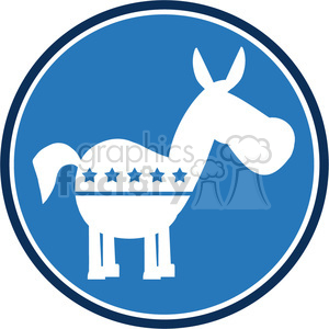 democrat donkey blue circle label vector illustration flat design style isolated on white clipart. Royalty-free image # 399814