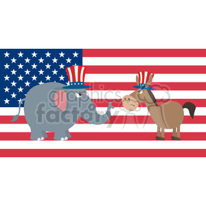 angry political elephant republican vs donkey democrat over usa flag vector illustration flat design style clipart. Royalty-free image # 399824